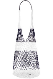 Striped macramé shoulder bag