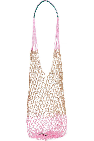 SOPHIE ANDERSON Macramé Shoulder Bag in Baby Pink