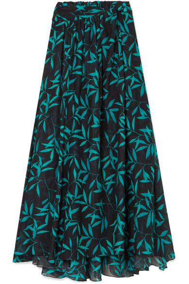 Caroline Constas - Hera Printed Voile Maxi Skirt - Black