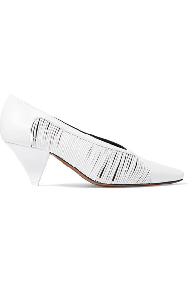 NEOUS Setum Cutout Leather Pumps in White