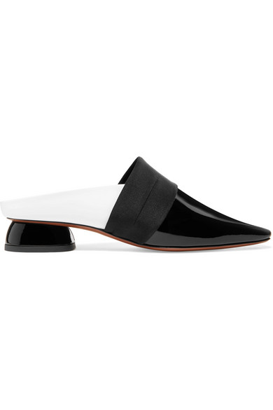 Zygo Satin-Trimmed Two-Tone Patent Leather Mules in Black