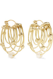 Ellery Classical Scaffolding gold-plated pearl hoop earrings