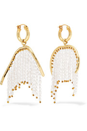 Ellery Emin gold-plated faux pearl hoop earrings
