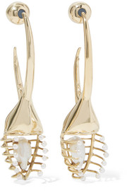 Ellery O'Keefe Beetle gold-plated pearl earrings