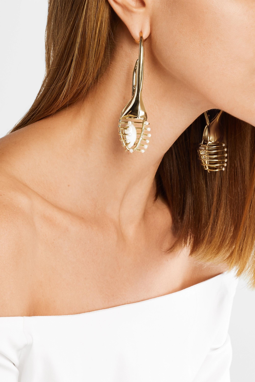 Ellery O'Keefe Beetle gold-plated pearl earrings