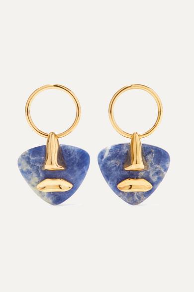 PAOLA VILAS Breton gold-plated sodalite earrings