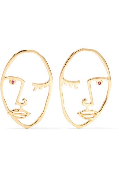 PAOLA VILAS Cocteau Gold-Plated Garnet Earrings