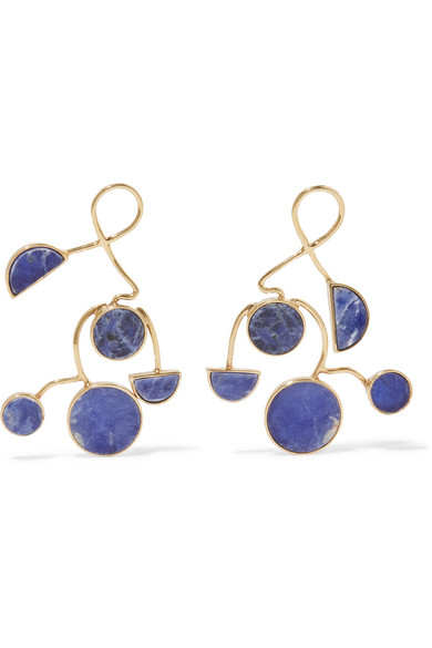 Paola Vilas Ray Gold Plated Sodalite Earrings In Blue