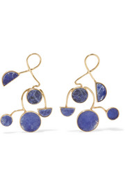Ray gold-plated sodalite earrings