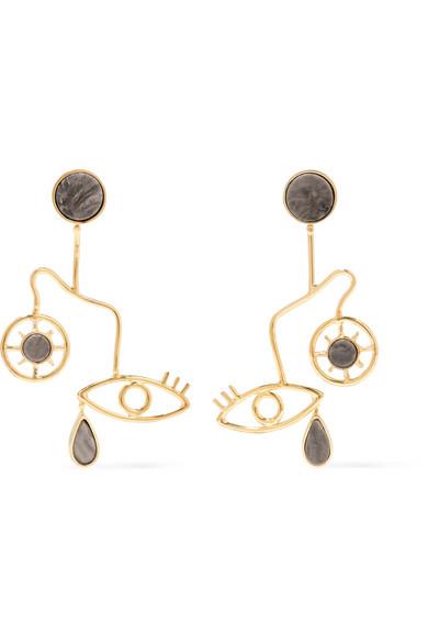 PAOLA VILAS Mobile gold-plated granite earrings