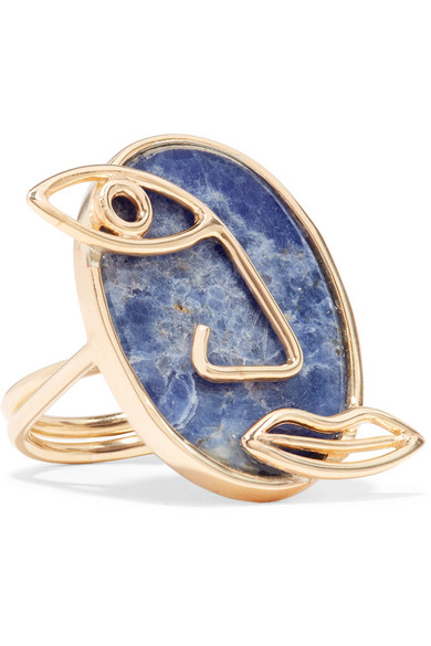 Pablo Gold-Plated Sodalite Ring, Blue