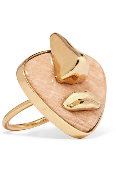 PAOLA VILAS Breton Gold-Plated Amazonite Ring in Pink