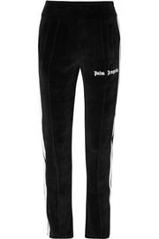Striped cotton-blend velour track pants