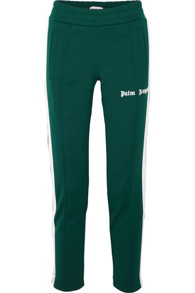 Striped Satin-Jersey Track Pants, Dark Green