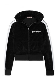 Palm Angels Cropped striped chenille hooded top