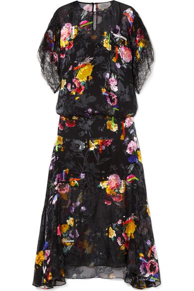 PREEN BY THORNTON BREGAZZI Leonora Floral-Print Devoré Silk-Blend Satin Midi Dress in Black