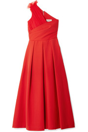 One-shoulder tulle-trimmed stretch-cady midi dress
