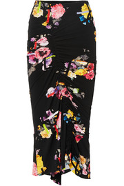 Cosmia ruched floral-print stretch-jersey midi skirt