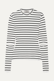 Nikki cutout striped stretch-jersey top