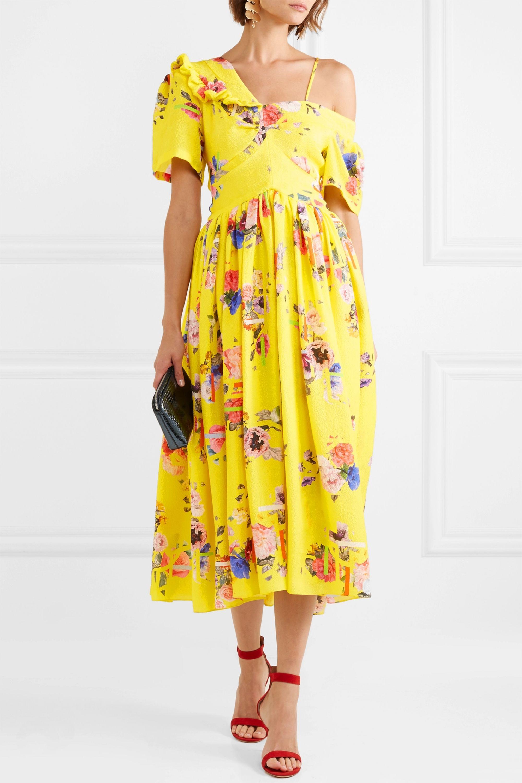 Preen by Thornton Bregazzi Domino floral-print silk-blend cloqué midi dress