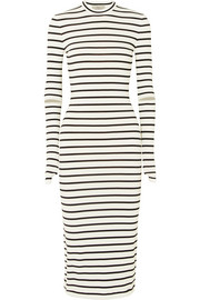 Nikki striped stretch-crepe midi dress
