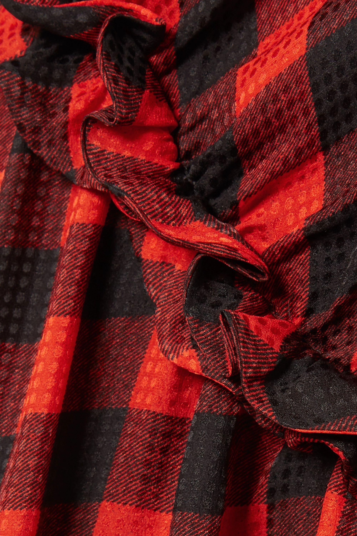 Preen by Thornton Bregazzi Adrienne ruffled checked silk-jacquard midi skirt