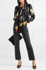 Evan pussy-bow floral-print silk-satin blouse