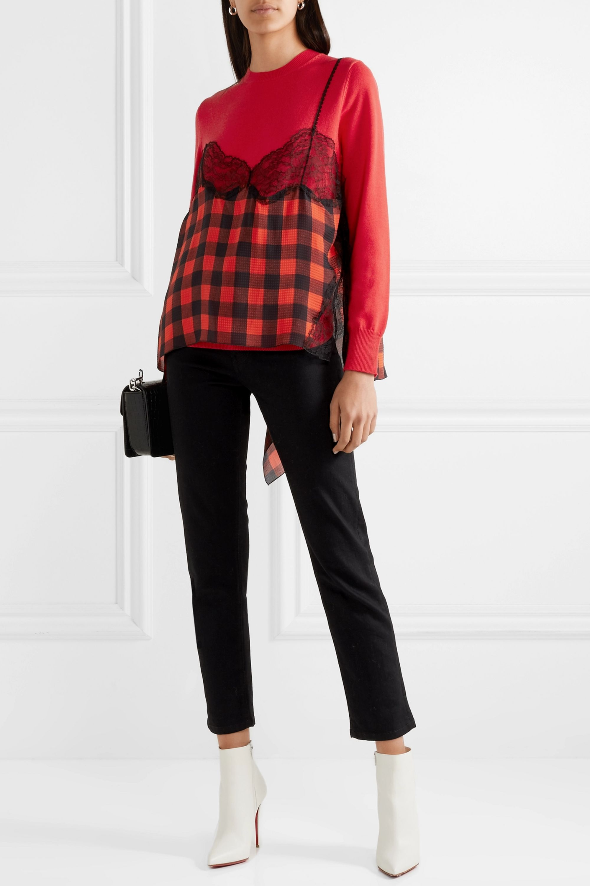 Preen by Thornton Bregazzi Caia lace-trimmed gingham silk-jacquard and wool-blend sweater