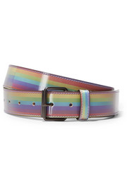 Printed glossed-leather belt