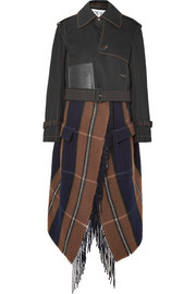 Loewe Cropped asymmetric cotton and checked wool-blend trench coat