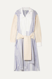 Loewe Tie-front striped cotton and ramie-blend midi dress