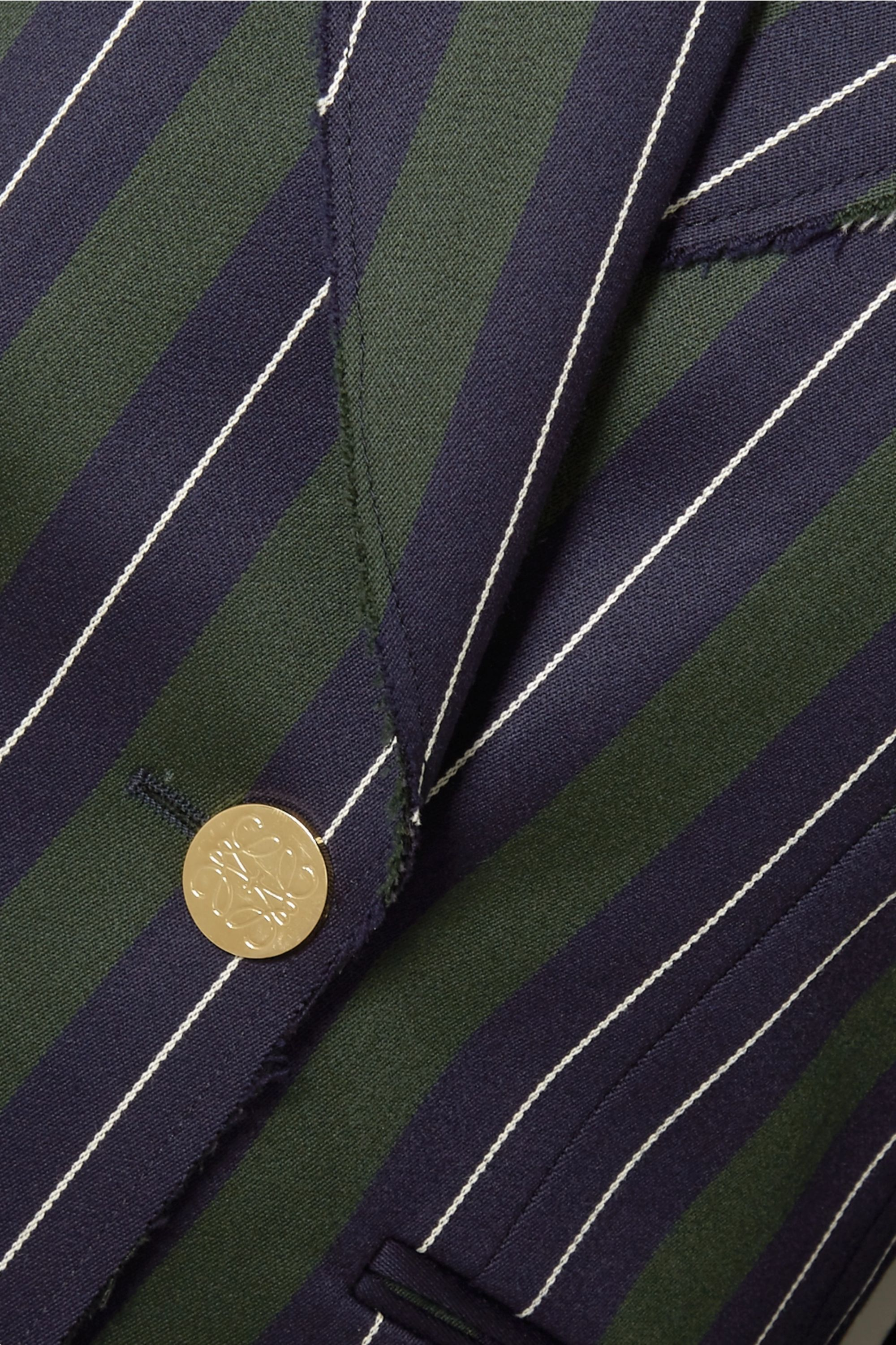 Loewe Frayed striped wool and cotton-blend blazer