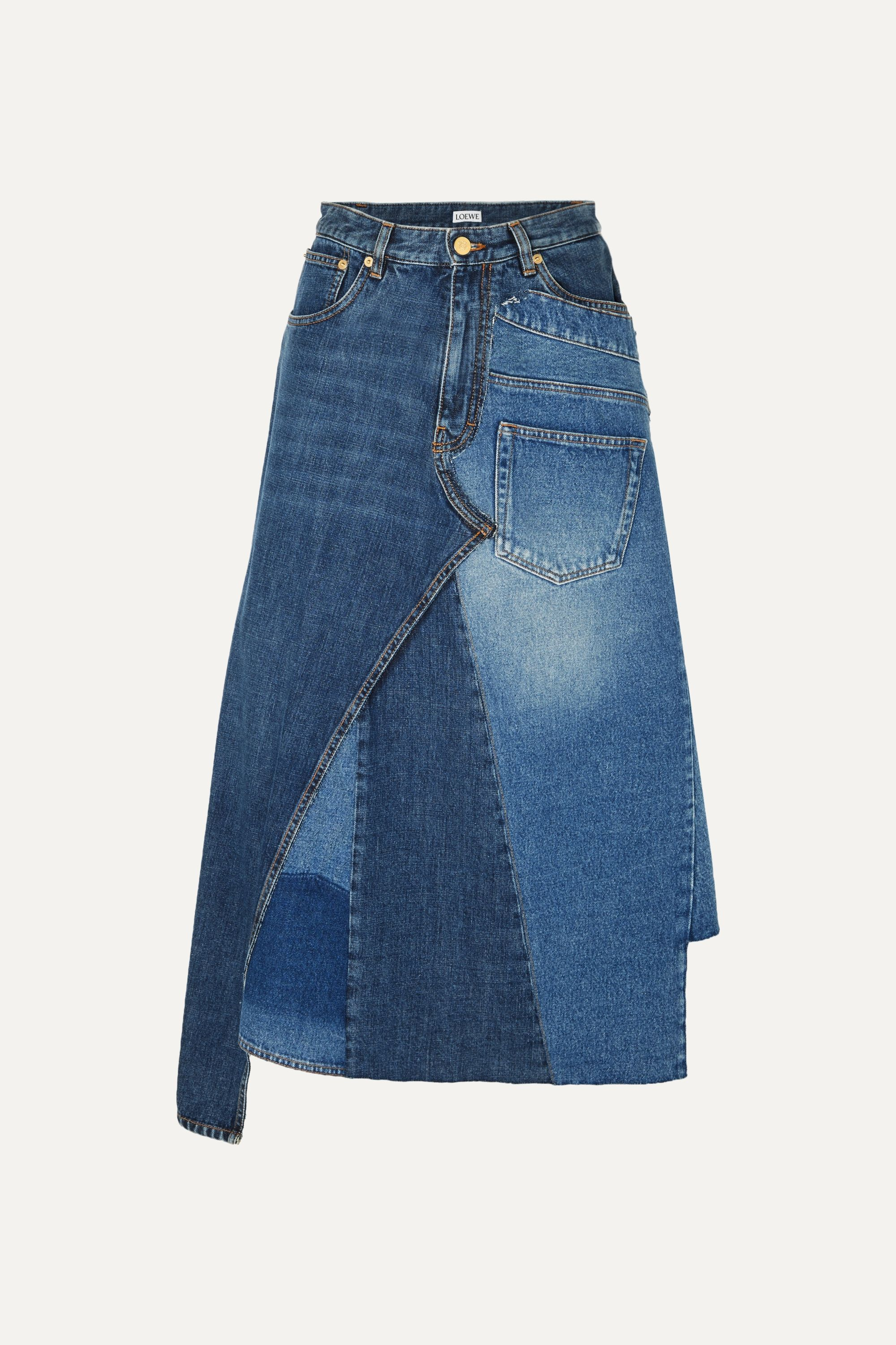 Loewe Asymmetric patchwork denim midi skirt