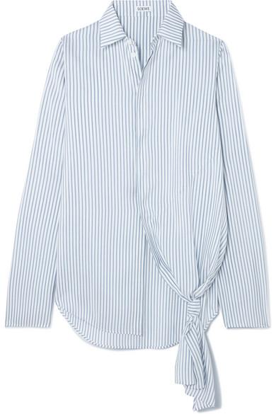 2d1d24a15f7 Loewe Asymmetric Striped Silk Shirt In Blue | ModeSens