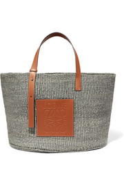 Loewe + Paula's Ibiza large leather-trimmed raffia tote