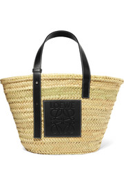 +Paula's Ibiza leather-trimmed woven raffia tote