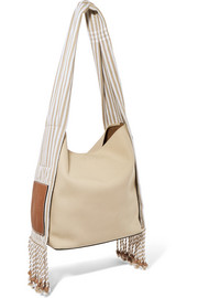 Loewe + Paula's Ibiza Scarf striped cotton-canvas shoulder bag