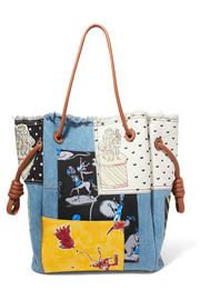 Loewe + Paula's Ibiza Flamenco K patchwork printed canvas and denim tote