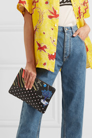 + Paula's Ibiza printed textured-leather pouch