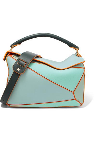 Paula'S Ibiza Puzzle Color-Block Textured-Leather Shoulder Bag, Turquoise