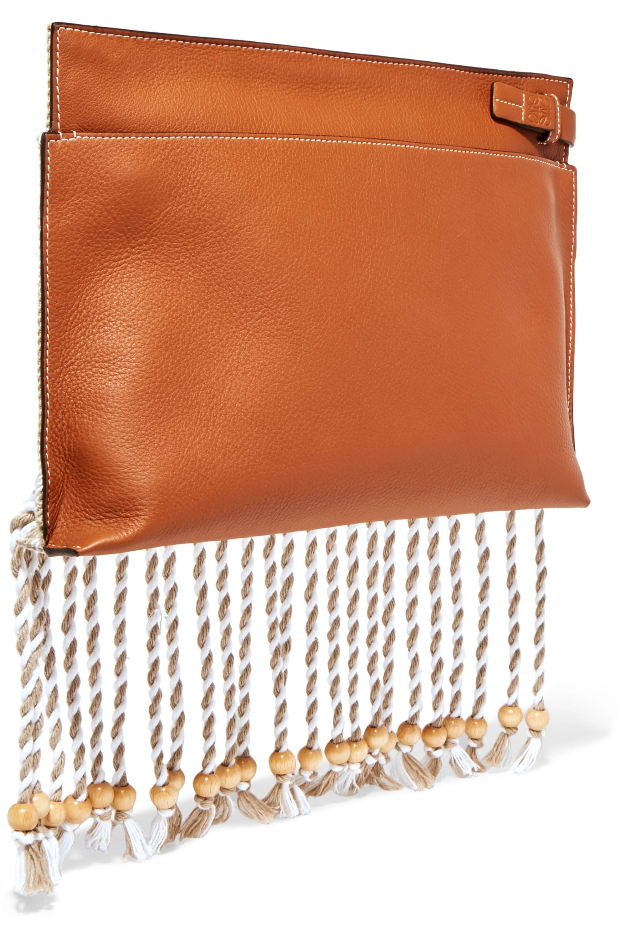 Loewe Striped cotton-canvas and textured-leather pouch