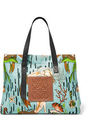 Loewe + Paula's Ibiza leather-trimmed printed cotton-canvas tote