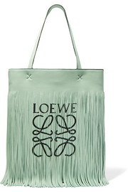 Loewe + Paula's Ibiza fringed printed leather tote
