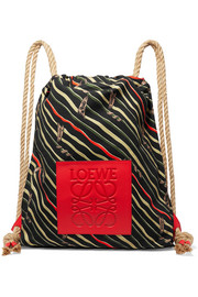 Loewe + Paula's Ibiza Yago leather-trimmed printed cotton-canvas backpack