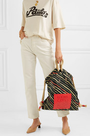 + Paula's Ibiza Yago leather-trimmed printed cotton-canvas backpack