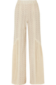 Crocheted cotton-blend gauze wide-leg pants