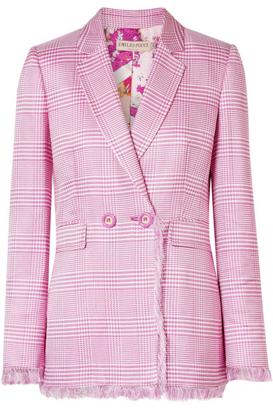 Fringed Houndstooth Woven Blazer in Pink