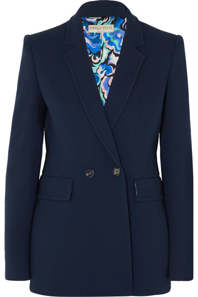 Emilio Pucci - Double-breasted Wool-blend Blazer - Navy
