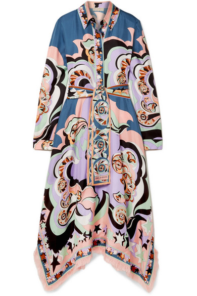 Emilio Pucci - Edie Fringed Printed Silk-twill Midi Dress - Lilac