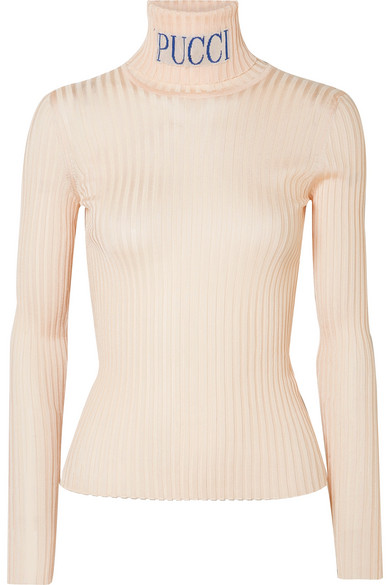 Emilio Pucci - Intarsia Ribbed-knit Turtleneck Sweater - Beige